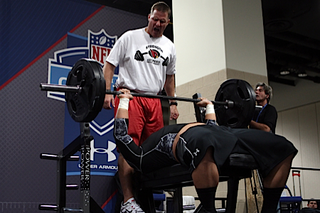 Once proper benching is learned, heavier weights can be used with a 3x5 scheme.